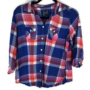 American Eagle Outfitters Quarter Sleeve Plaid Top